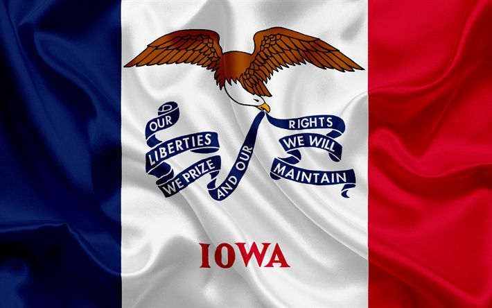 Hämta bilder Iowa Flagga, flaggor av Stater, flagga delstaten Iowa, USA, staten Iowa city, silk flag, Iowa vapen