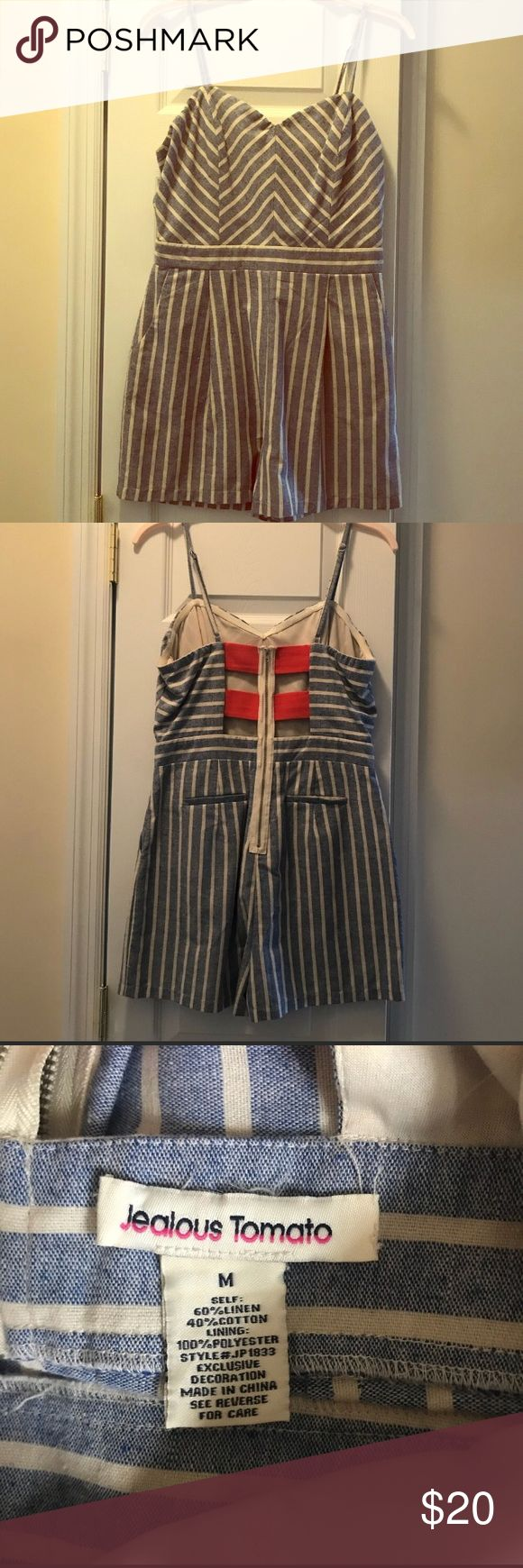 Striped denim romper Adorable striped denim romper, very flattering on and coral striped details on the back. Can be worn both casual or dressed up with the right wedges. Only worn couple of times and in great condition. Size M fits true to size. Got this in a little boutique in Sarasota, FL. jealous tomato Other