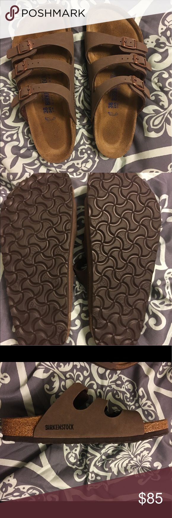 Florida Birkenstock Bought brand new & hardly used as soles of shoes show. I bought them but just never fell in love with them so time to pass them on to a new owner who will. Birkenstocks are so comfortable and offer amazing support, when I was pregnant they are all I could stand to wear. Don't let this amazing pair of like new pass you by Birkenstock Shoes Sandals