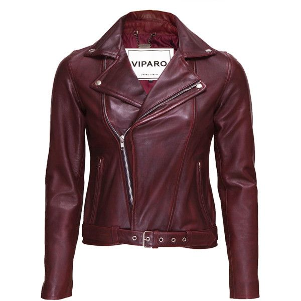 Viparo oxblood wb3 red jacket found on Polyvore featuring outerwear, jackets, biker jacket, leather biker jacket, lined leather jacket, genuine leather belt and real leather belts