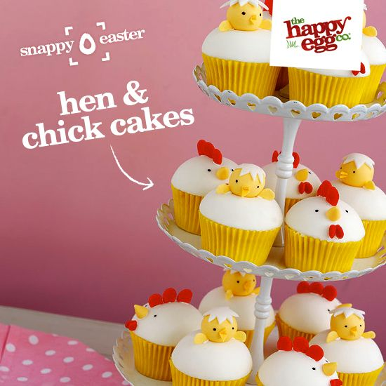 Happy hen and chick cupcakes: http://thehappyegg.co.uk/our-recipes/recipe/hen-and-chick-cupcakes