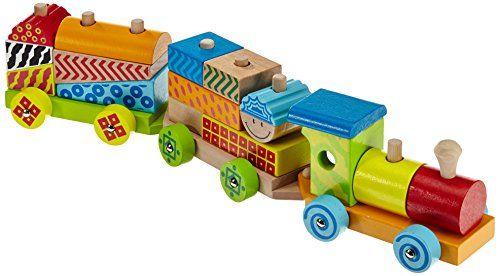 Eichhorn – 100002223 – Train en bois Color – 20 pièces -17 éléments de construction inclus – 41 cm: Petit train de 41cm en bois et 15 blocs…
