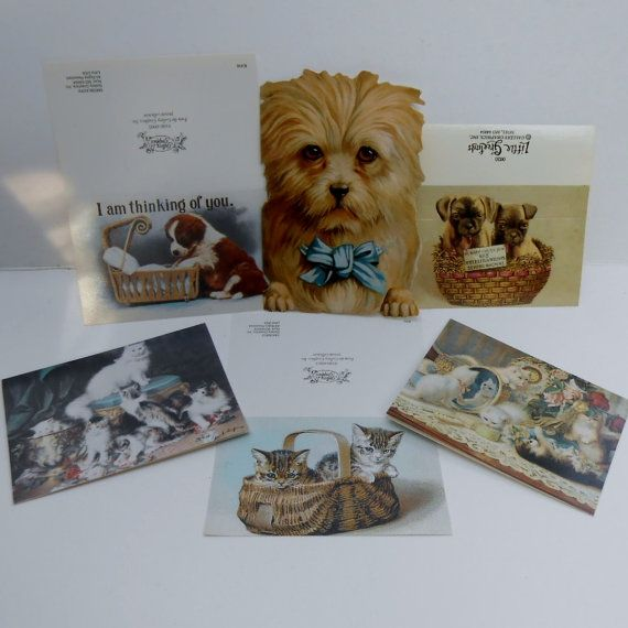 6 Victorian reproduction images lot puppies kittens dogs cats blank unused greeting cards NOS old paper supplies ephemera