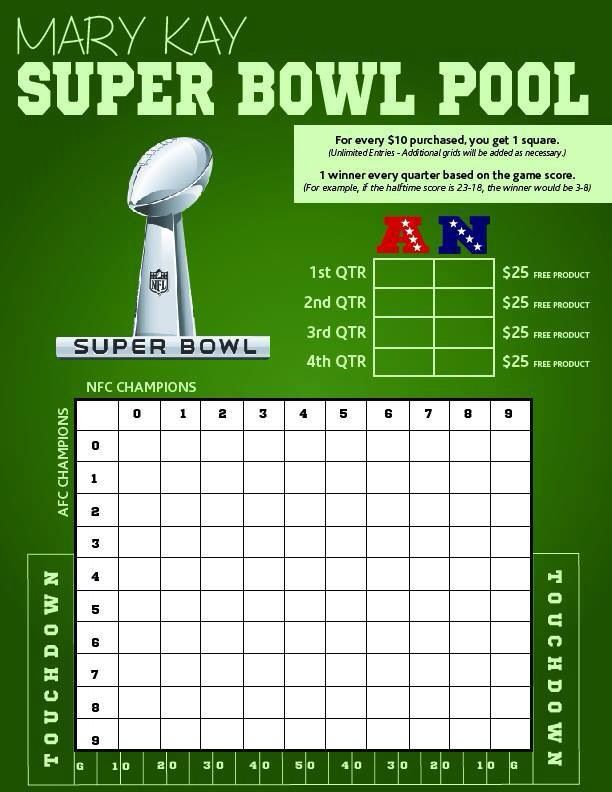 Get ready for football - SUPER BOWL!!!!!!! Take part in my Mary Kay Super Bowl Pool!! For every $10 spent your name goes on a square!  At the end of each quarter the score of the Super Bowl will determine the winner of each set of $25 in free product. Don't miss out!!!