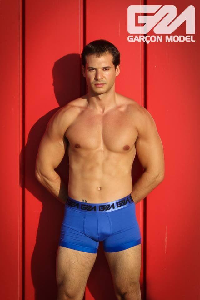Munir wearing blue Garçon Model boxers | Marques underwear ...