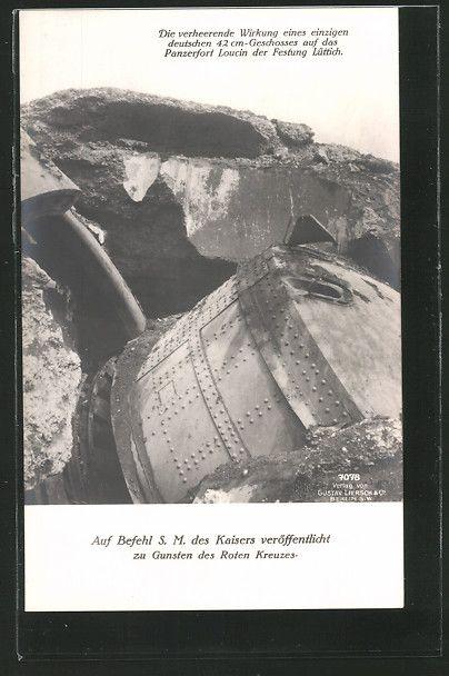 old postcard: AK Lüttich, Panzerfort Loucin, Wirkung eines einzigen 42cm Geschosses, zerschossener Geschützturm