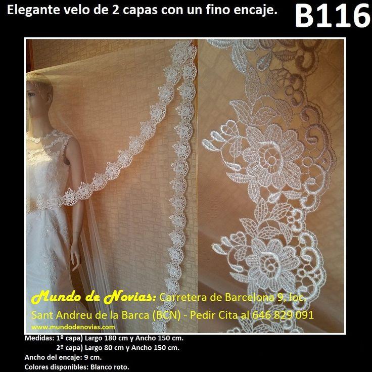 Elegante Velo de Novia Corto, de Tul con una elegante puntilla (encaje), de la marca Novias Ukraine. Se hacen envíos a toda España (WhatsApp 646829091).