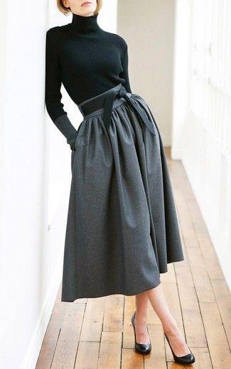 Women's Black Turtleneck, Charcoal Pleated Midi Skirt, Black Leather Pumps