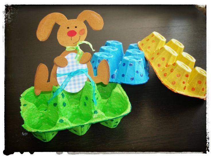 A faire avec les enfants : la boîte à œufs Lapin #diy #paques via Y'a Maman à la maison