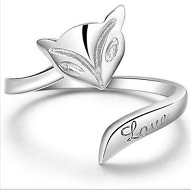 Magus Women'S Platinum Mini Fox Shape Adjustable Ring – GBP £ 3.29