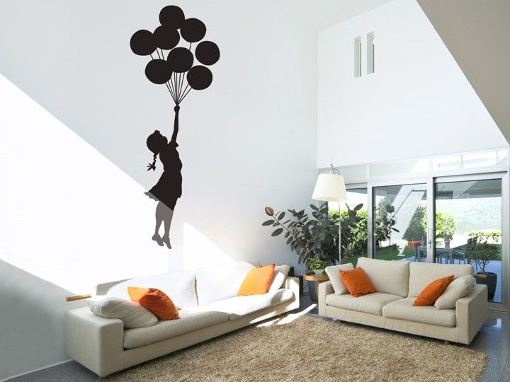 Large Banksy Balloon Floating Wall Stickers This Large Wall Sticker Design  Is Inspired By The Infamous