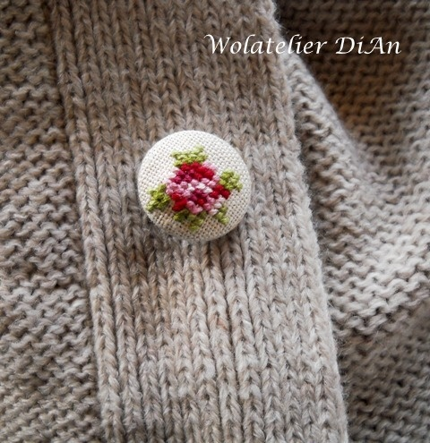 Cross stich fabric covered button