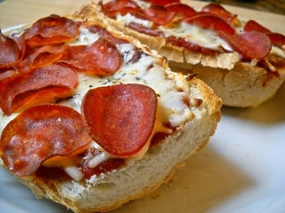 french bread pizza-We used to make these when we were ...