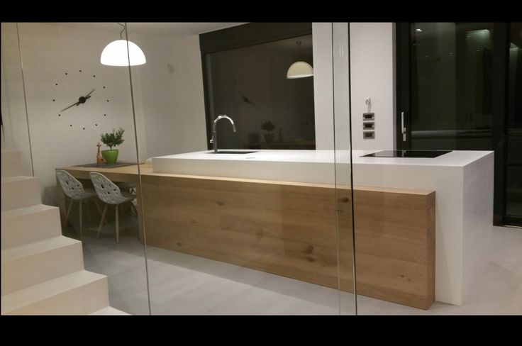 Custom made kitchen unit, made of solid oak with corian, minimal design, Interior design