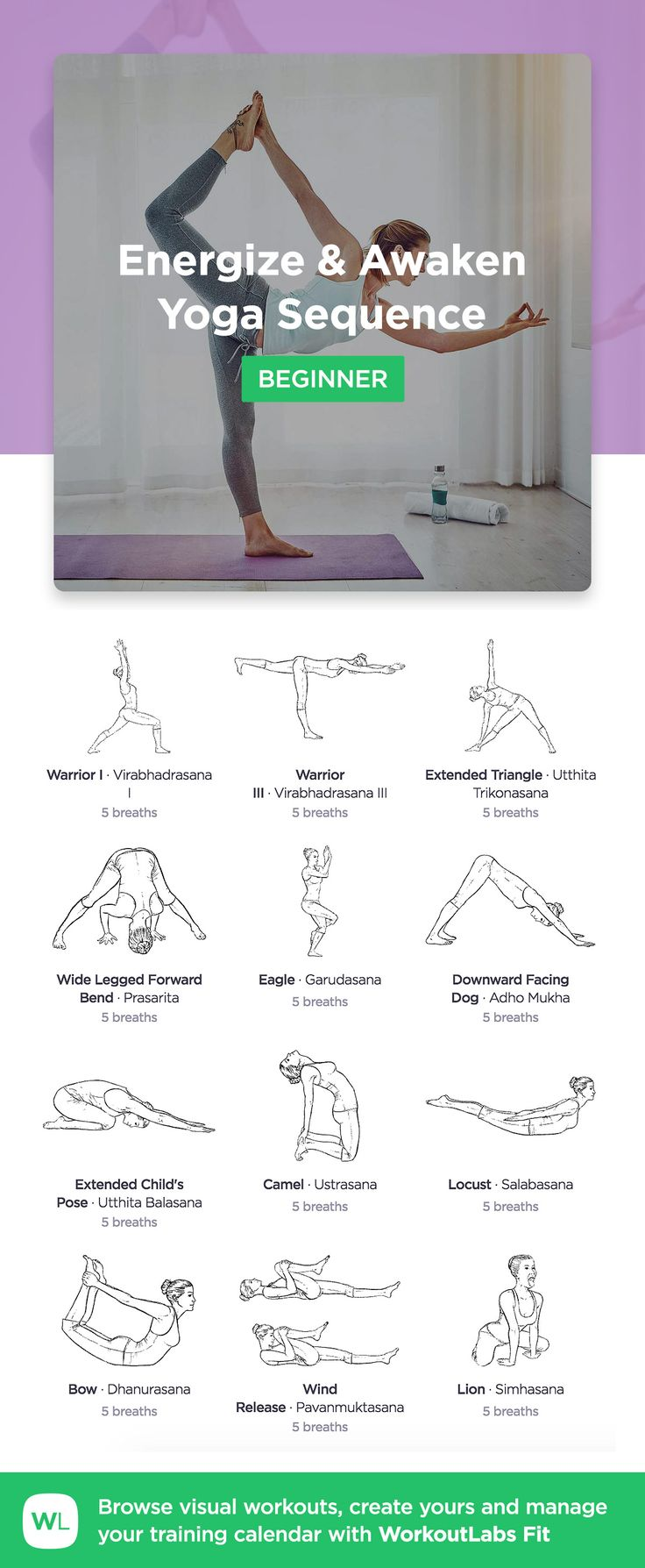 Energize and Awaken Yoga Sequence for beginners by WorkoutLabs Fit · View and download printable PDF: https://workoutlabs.com/s/L44fk