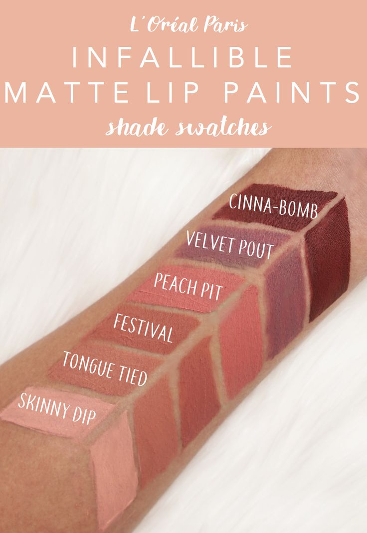 Swatches of the new L'Oreal Infallible Matte Lip Paints. 6 shades of creamy matte nude liquid lipstick.