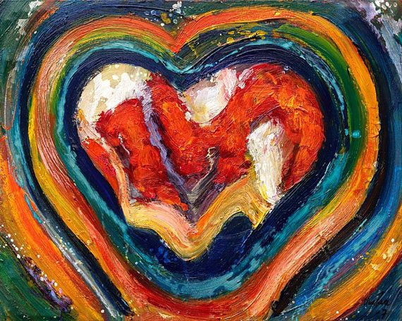 Torn Heart - Oil painting by Maria Meester, modern art made in Holland, with an abstract heart shape.