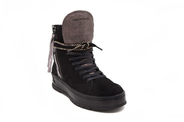 The nabuk in these leather boots will get you through any weather this fall.  • Combination of premium Italian full grain leather and nabuk • Cobra printed leather toe cup and tongue • Leather and terrycloth lining • Functional double side zip • Rubber cup-sole • Color black • Fits true to size Product Number: 25902A17 20