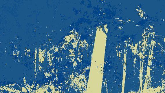 Australian Bush Landscape Blue and White by BlackbirdArtDesign, $35.00