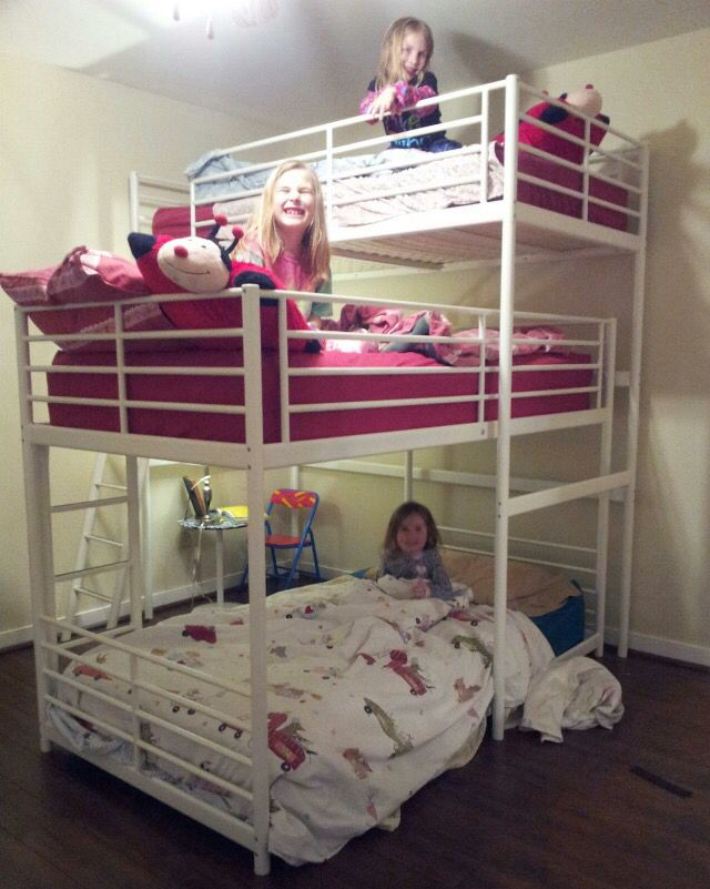 #ikeahack Triple bunk bed made by using a bunk bed and a loft bed from Ikea. We shaved the legs down on the bunk bed so it fit right under the loft bed.