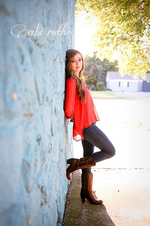 blue and orange outfit with cowboy boots; pretty evening light; hannah's senior portraits ~ by abi ruth