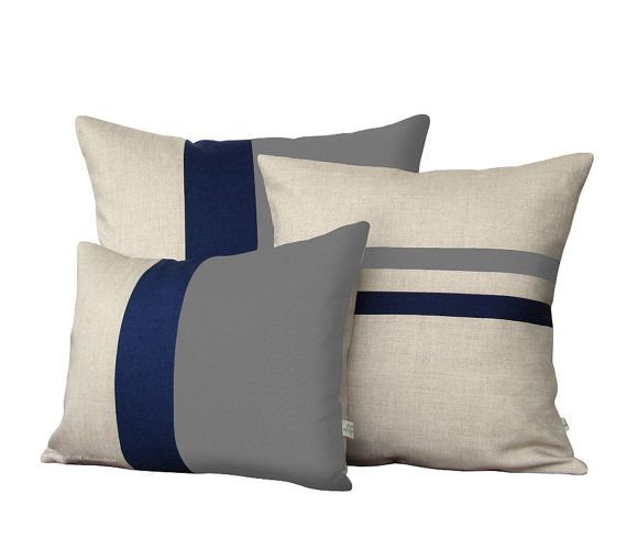 :: NEW SET :: This beautiful set includes (1) 12x16 gray, navy and natural linen color block pillow cover, (1) 16x16 striped pillow cover in