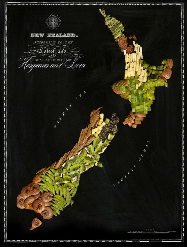 Food Maps: Nuova Zelanda  Realizzate dal fotografo Henry #Heargraves e la #FoodStylist Caitlin #Levine