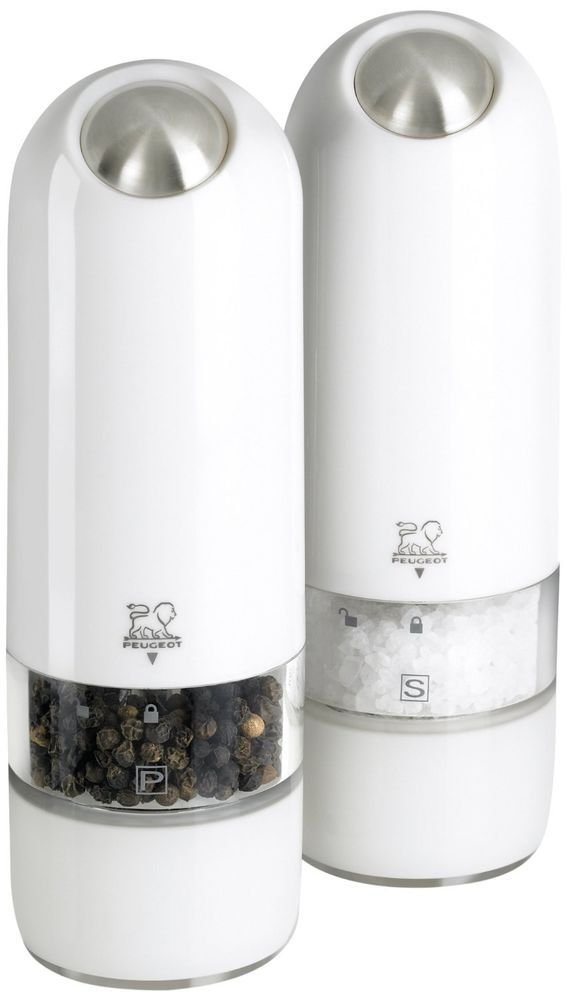 "New Peugeot 2/27667 Salt & Pepper Mill Grinder Set Alaska Electric White 6.9"" #Peugeot"