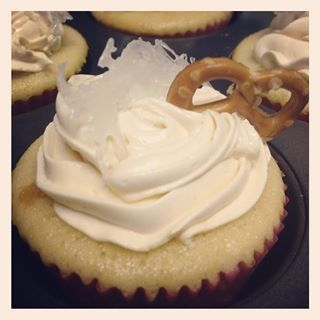 Salted caramel cupcake with salted caamel buttercream.