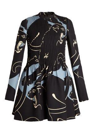 Panther-print pintuck-pleated mini dress | Valentino | MATCHESFASHION.COM UK