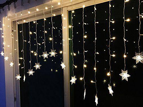 BLOOMWIN Rideau lumineux, LED Flocon de neige 2m x 1m 104leds 9.5W Guirlandes Lumineuses 8 Mode Parfait Pour Rideau Fenêtre Décoration de…