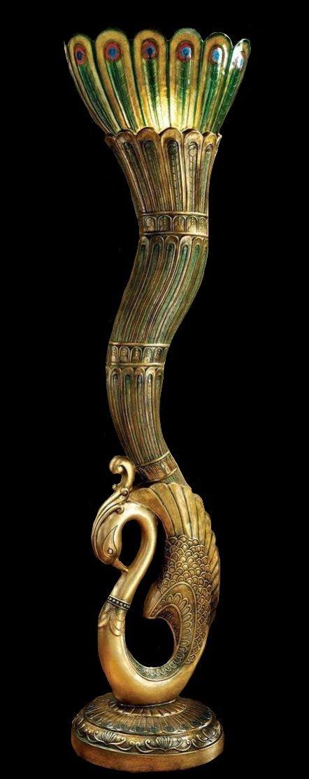 Art Deco Peacock Lamp