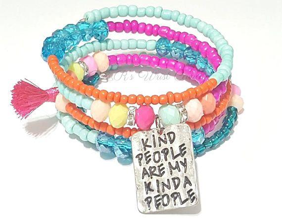 ColorfulBeaded Coil Bracelet Wrap Bracelet Kind People Are