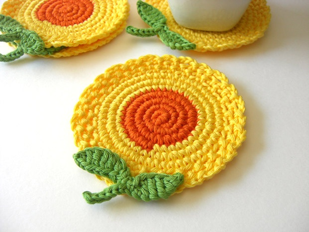 Crochet Yellow Flower Pattern : Yellow Orange Flowers Crochet Coasters - cheery! Knit ...
