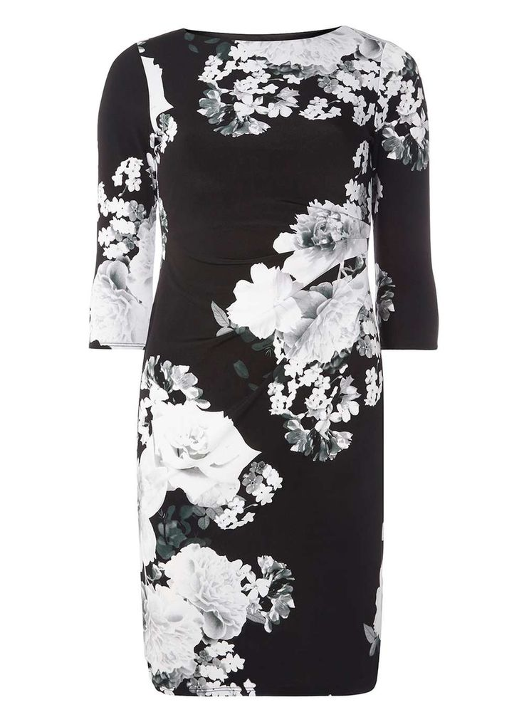 Womens **Billie & Blossom Monochrome Floral Bodycon Dress- Black