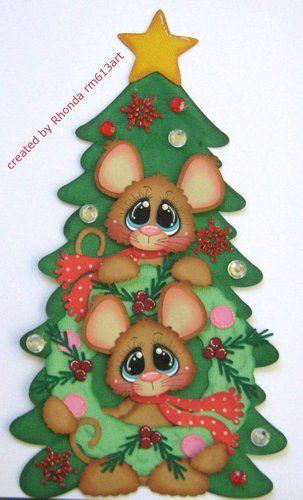 Christmas Mice Tree paper piecing premade scrapbook pages album Rhonda rm613art