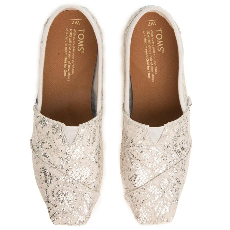 Toms for Women: Classics Silver Lace Glitter Flats
