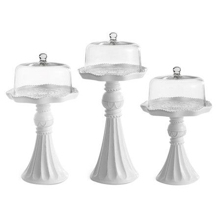 Set of three cake pedestal plates with cloches.   Product: Small, medium and large cake pedestal plates with clochesC...