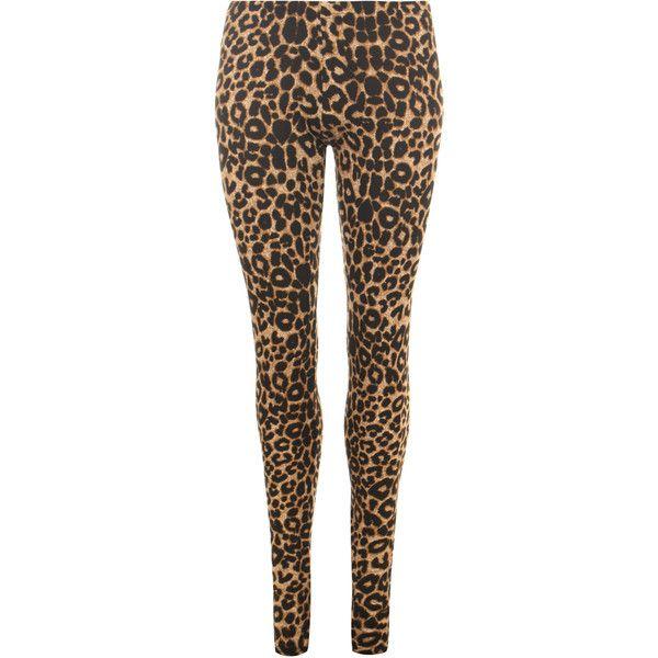 Mireya Leopard Print Leggings ($12) ❤ liked on Polyvore featuring brown
