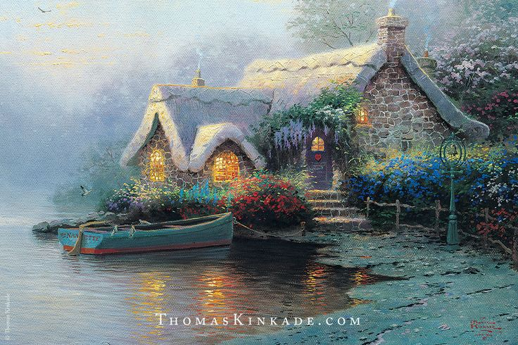 """Lochaven Cottage"" was an exclusive art release that Thom created specially for members of the Thomas Kinkade Collector Society in 1995. This beautiful painting quickly became a fan favorite."