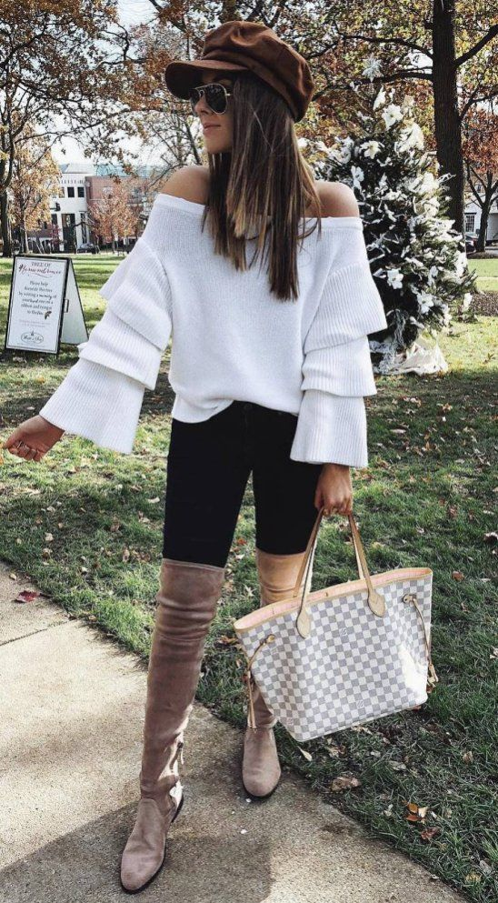 0e68ef9ed61 How To Wear A Brown Hat White Sweater Plus Bag Plus Skinnies Plus Over Knee  Boots