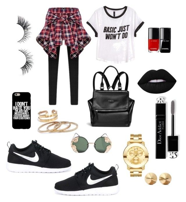 """""""look casual."""" by melissa-torres-velez on Polyvore featuring H&M, NIKE, Givenchy, Movado, Spitfire, Lime Crime, Christian Dior and Eddie Borgo"""