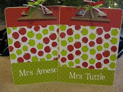 Clipboard Gift: using mode podge, scrapbook paper and cricut cut out letters. Tip: paint the edge of clipboard white so paper doesn't have to be exactly to edge & also use sandpaper to sand of edges that are uneven.
