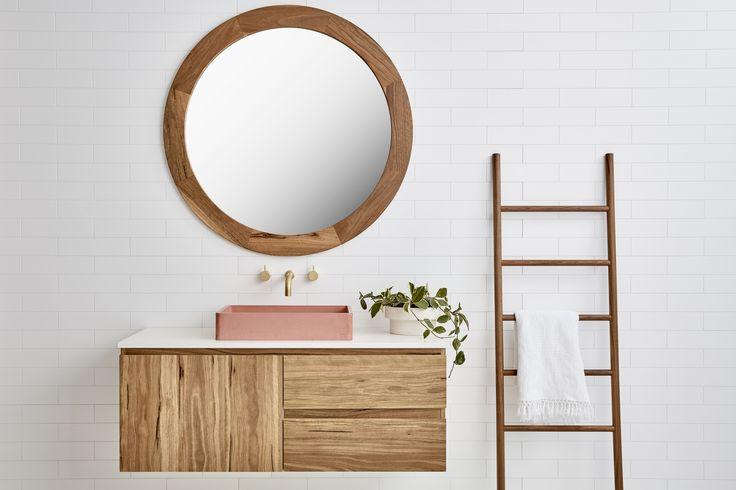 Beachwood Timber Vanity (By Loughlin Furniture). Pink concrete basin (slabshapers).