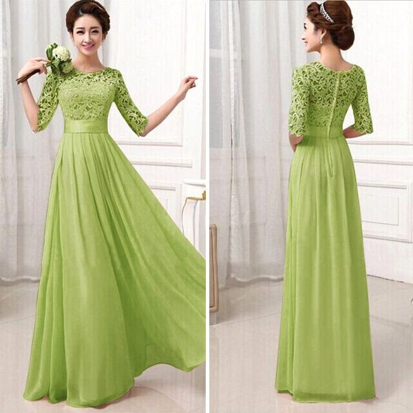 Womens-Summer-Long-Maxi-Evening-Cocktail-Party-Prom-Lace-Dress-Chiffon-Dress-L70