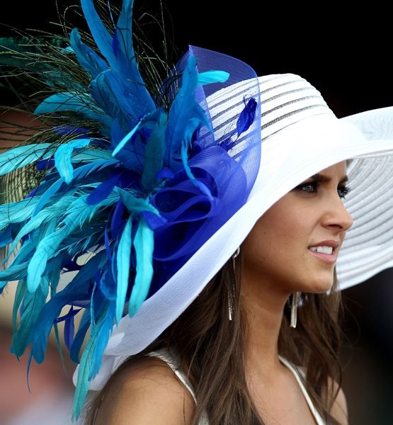 "Over-the-Top Hats from Kentucky Derby Blue Belle    HIT: ""I'll Have Another"" may have won the Derby, but this bright topper leads the style pack with a pop of beautiful blue against crisp white."