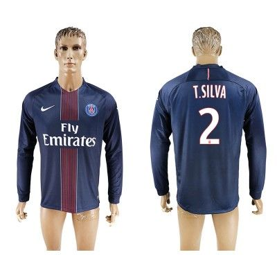 Paris Saint Germain PSG 16-17 Thiago Silva 2 Hjemmebanetrøje Langærmet.  http://www.fodboldsports.com/paris-saint-germain-psg-16-17-thiago-silva-2-hjemmebanetroje-langermet.  #fodboldtrøjer
