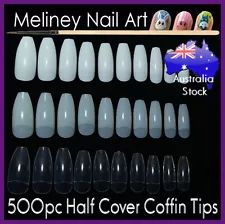 500Pc Half Cover Coffin Nail Tips False Art Acrylic Long salon supplies beauty