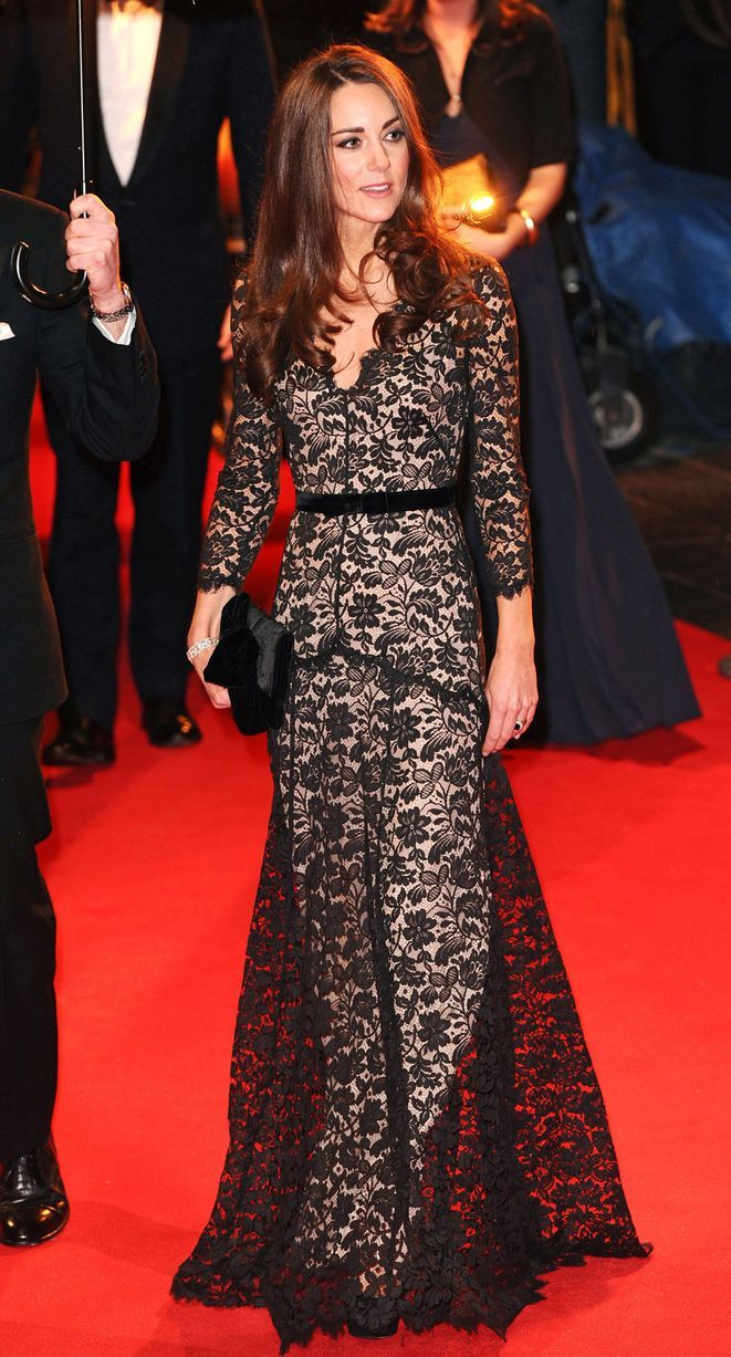 Kate's wore her black lace Temperley gown on a number of occasions, but we first spotted it on her in January 2012 for the War Horse premiere