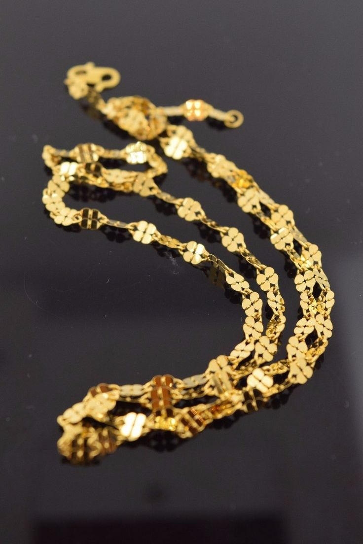 22k Yellow Solid Gold Chain Rope Necklace 3mm c45 with white diamond cut box